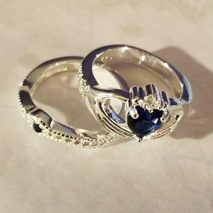 Pretty 925 Blue Saphire Ring Set